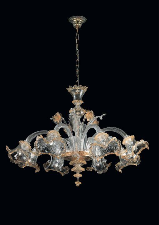 Darwin lampadario Murano cristallo oro 8 luci