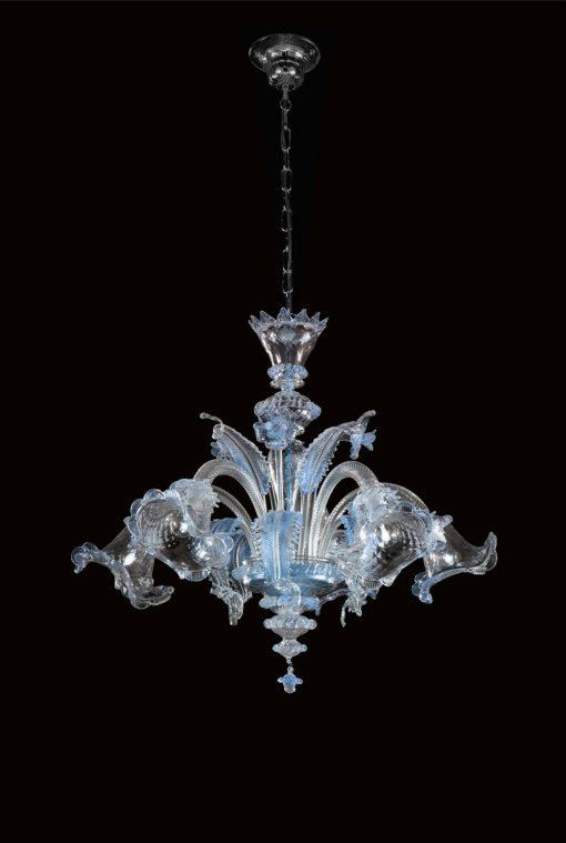 Darwin lampadario cristallo celeste 5 luci