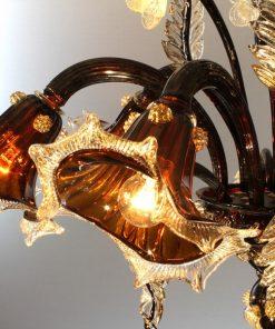 galileo-lampadari-murano-marrone-moka-trasparente-in-fuoco-decoro-cristallo-e-oro-dettaglio1