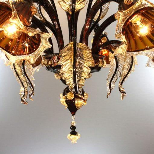 galileo-lampadari-murano-marrone-moka-trasparente-in-fuoco-decoro-cristallo-e-oro-dettaglio2