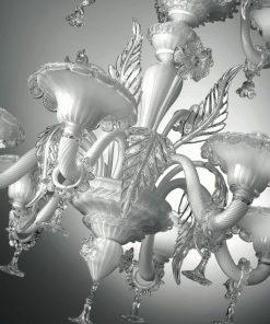 Shakespeare lampadario Murano Bianco cristallo particolare