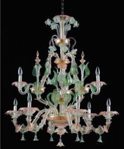 lampadario murano cicerone grande cristallo colorato