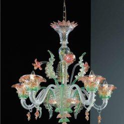 lampadario murano lincoln cristallo oro colorato