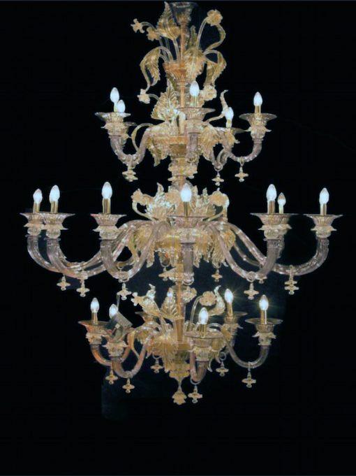 lampadario murano ulisse cristallo viola oro