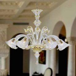 lampadario murano copernico cristallo oro