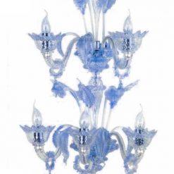 cleopatra applique murano 5 luci cristallo blu