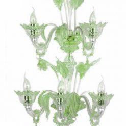 cleopatra applique murano 5 luci cristallo verde