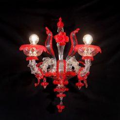 cracovia applique murano cristallo rosso