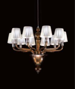 Tesla lampadario Murano moderno ambra paralumi