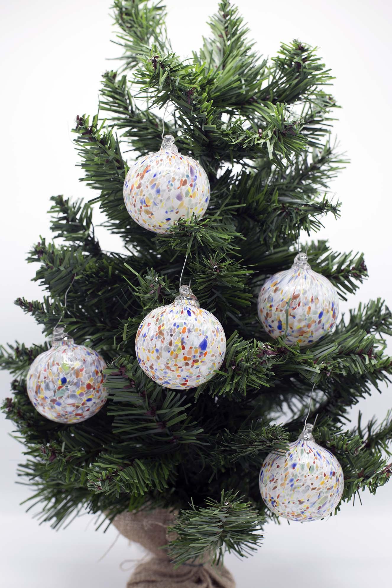 Palline Di Natale Con Le Foto.Set Di 6 Palline Di Natale Con Murrine In Vetro Di Murano