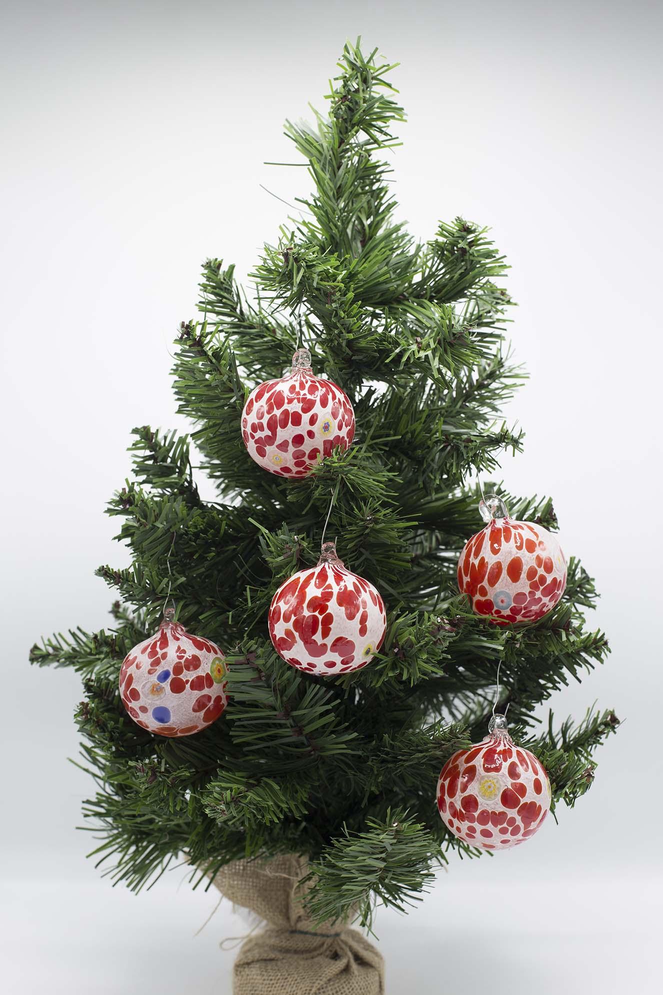 Palline Di Natale.Set Di 6 Palline Di Natale Rosse Idea Regalo In Vetro Di Murano