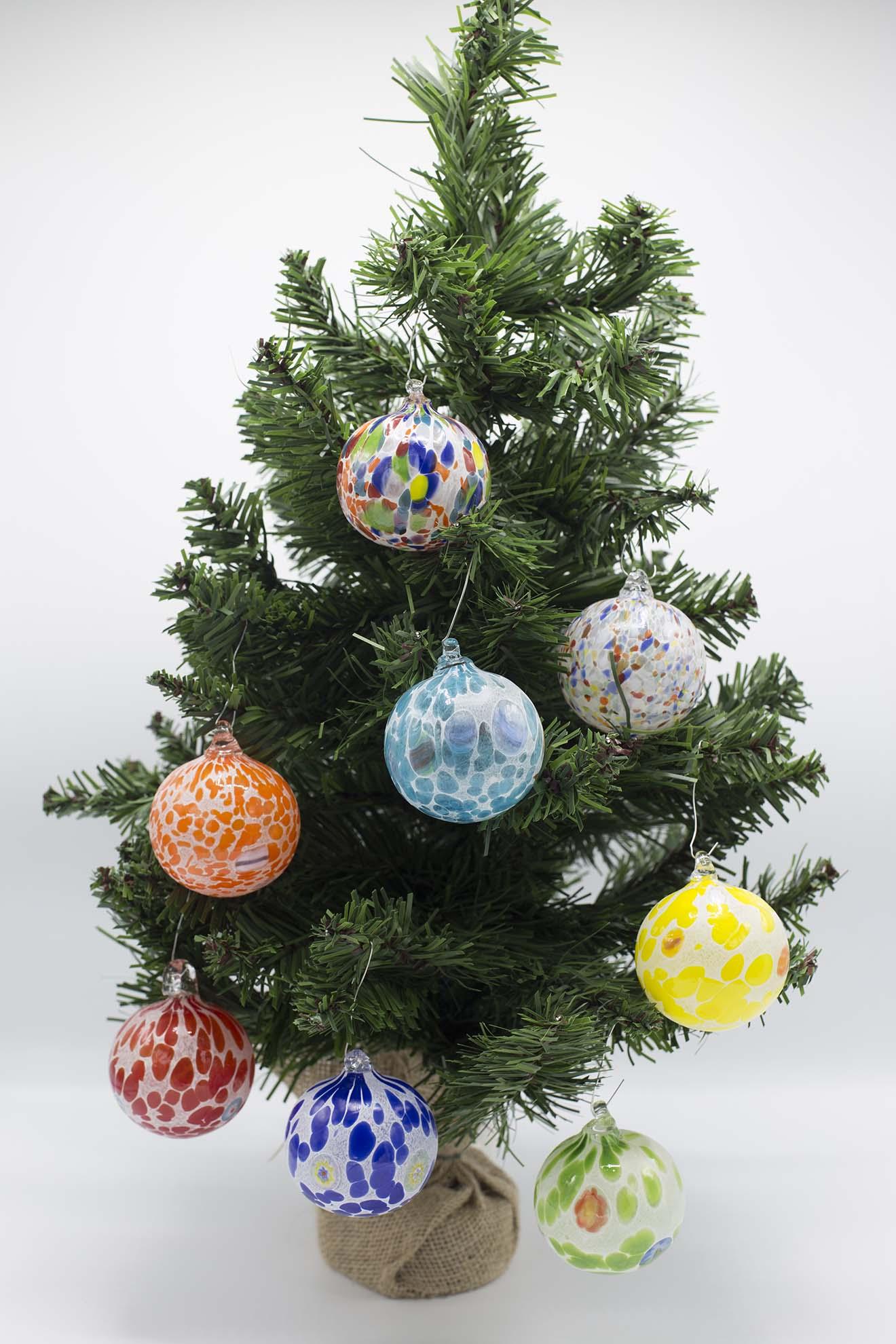 Immagini Piccole Di Natale.Set Di 6 Palline Di Natale Miste In Vetro Di Murano
