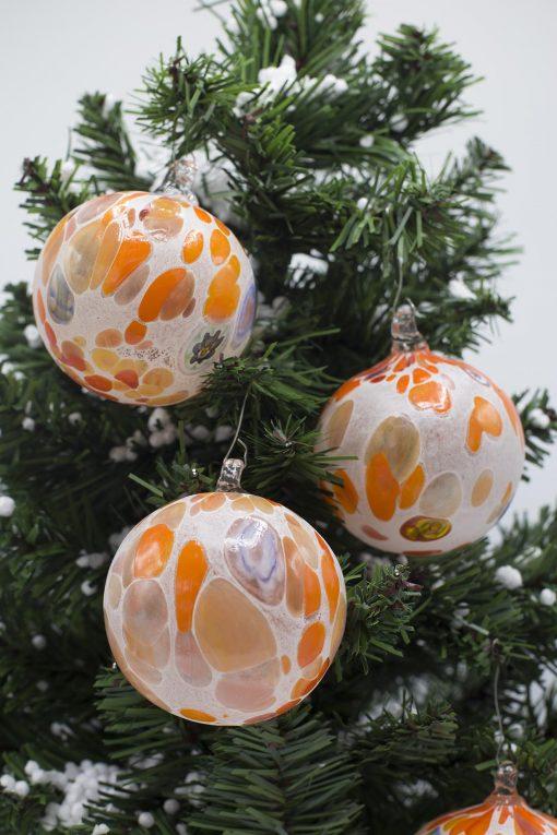 pallina di natale arancio diametro 80 particolare