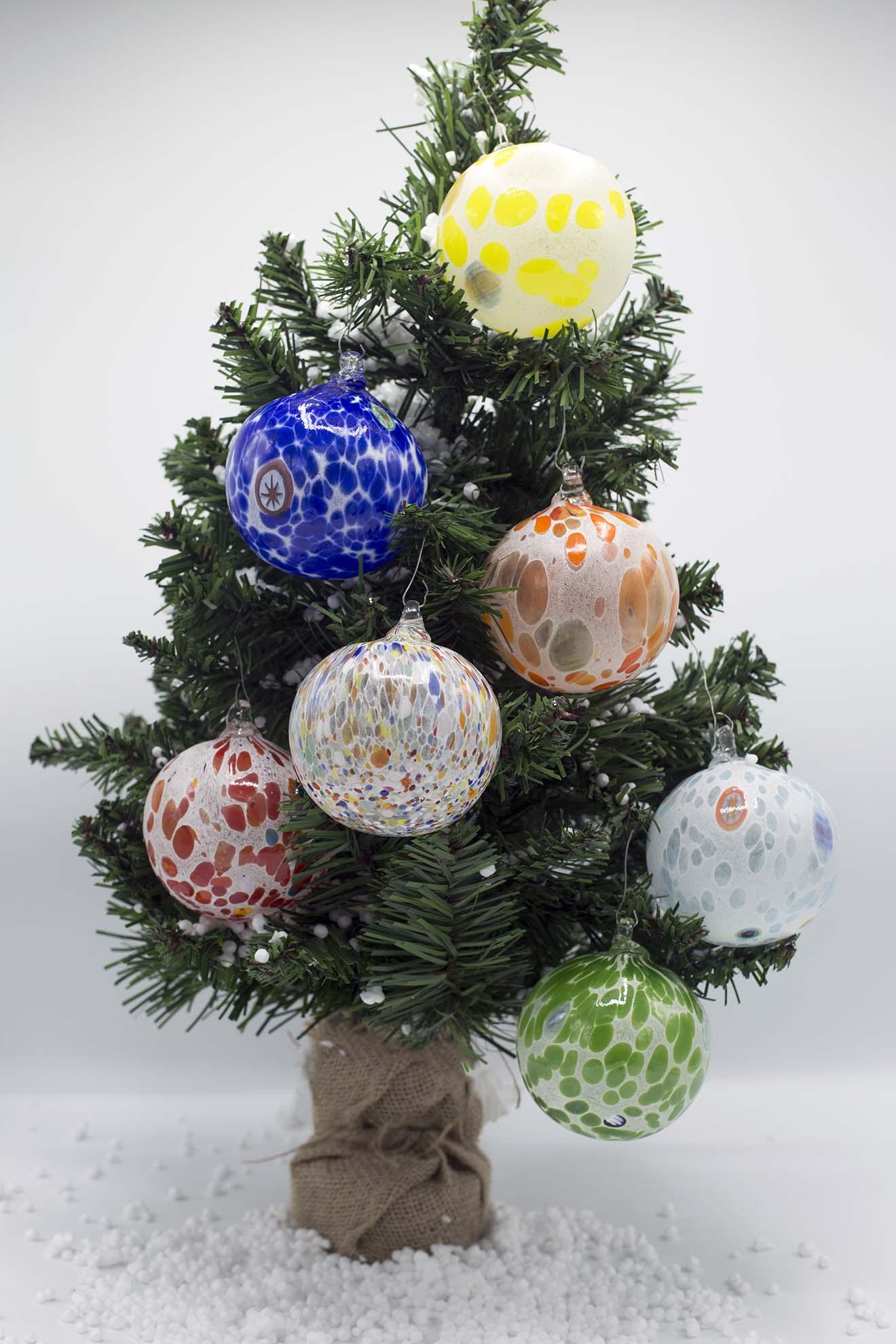 Palline Di Natale.Set Di 6 Palline Di Natale Miste Idea Regalo In Vetro Di Murano