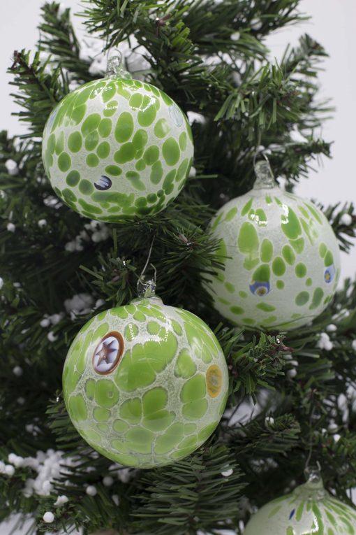 palline di natale verde diametro 80 particolare